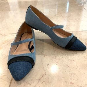 Who What Wear Nellie Denim Mary Jane Ballet Flats